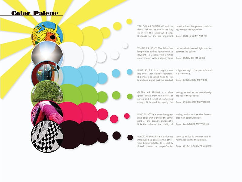 The brand's color palette: yellow, white, blue, green, pink and black