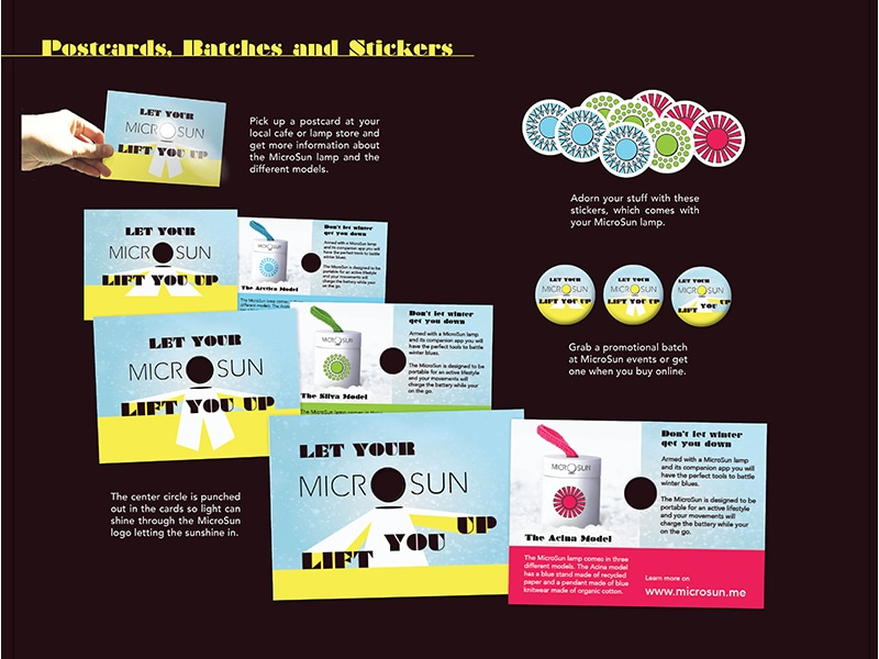 MicroSun promotional postcards, stickers and badges