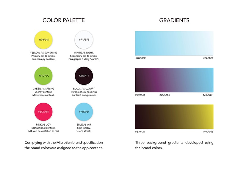 Color palette and gradient use for the MicroSun app