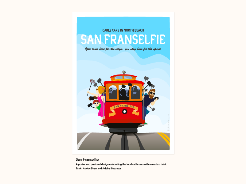 Poster and postcard design celebrating the San Francisco cable cars with a modern twist
