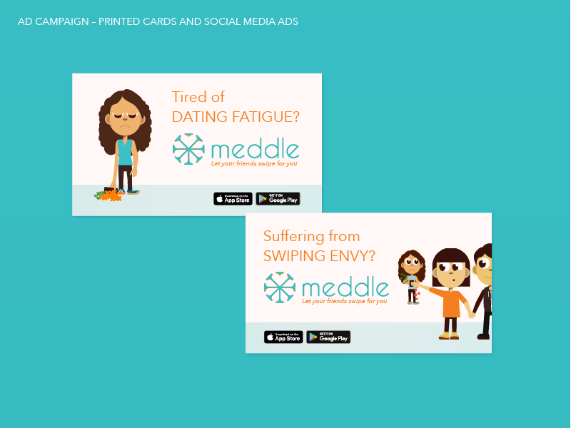 Ad campaign material used for printed cards and social media