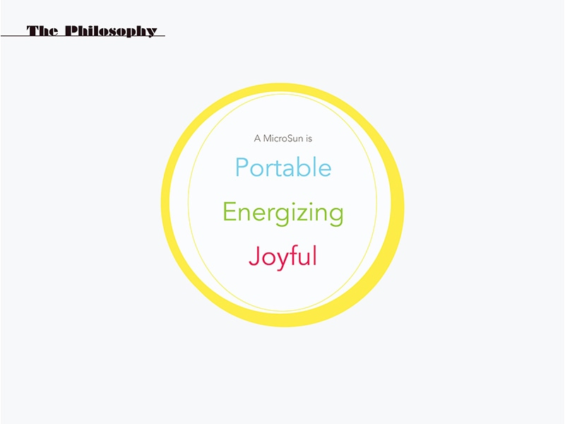 Defining the brand's philosophy: portable, energizing and joyful
